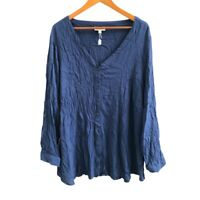 Autograph Women's Tunic Top Size 24 Dark Blue Roll Up Long Sleeve Front Button