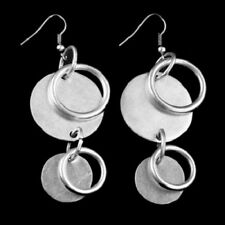 "Double Circles Drop Dangle Earrings Antiqued .925 Silver Plated  2 1/2"" x 1"""