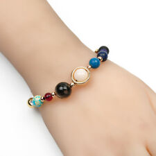 2017 New Natural Stone Beads Galaxy 8 Planets Solar System Bracelet Bangle