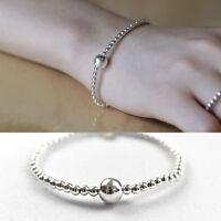 Armband Kugeln echt Sterling Silber 925 16 cm Damen Armkette Elastisch