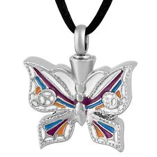 Stainless Steel Mosaic Butterfly Cremation Pendant Urn Jewelry Pet Ashes Human