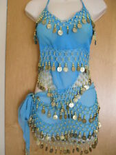 Belly Dance Top  Skirt  2pcs  Costume dress set suit Blue size S-M