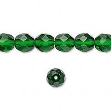 50 CZECH FIREPOLISHED 6mm EMERALD GREEN GLASS BEADS Lot