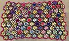 Vtg Wool Flower Granny Square Afghan Handmade Throw Blanket Knit Crochet Retro