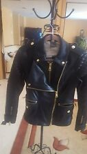 BURBERRY BRIT Women Black Leather Jacket Size 06 US MSRP $1995.00