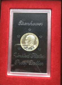 1973 S Proof Eisenhower Original Brown Box Ike Dollar 40% Silver Deep Cameo Gem