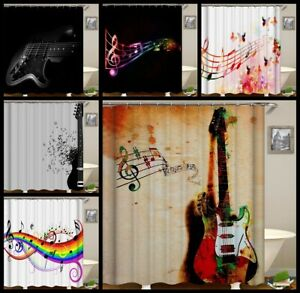 Guitar&music Symbols Home Fabric Shower Curtain Sets Bathroom Mats Rug w/12 Hook