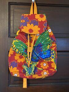 Sun N Sand Orange Floral Butterfly Sequin Drawstring Backpack Beach Bag