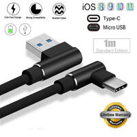 Braided 90Degree Right Angle Type C/IOS/ Micro USB Fast Data Sync ChargerCableBH