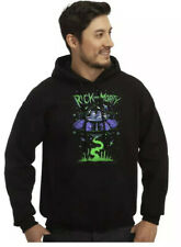 Men's Black Rick and Morty Spaceship Pullover Hoodie Sweatshirt Size Small New