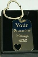 Heart Shape Keyring Key Chain Gift Love Heart Gift Personalised Engraved Silver