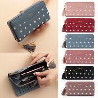 Fashion Ladies Leather Long Wallet Tassel Zipper Clutch Phone Card Money Bag