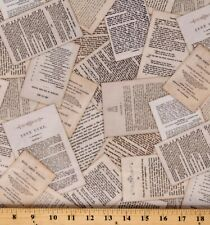 Cotton Book Pages Library of Rarities Antique Fabric Print by the Yard D563.51