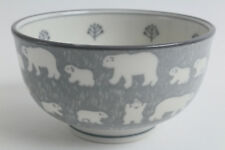 Mino ware Japanese Ceramics Large Bowl Polar Bear Gray made in Japan
