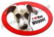 """Magnet chien """"J'aime mon Whippet"""" frigo/voiture idée cadeau NEUF"""