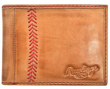 Rawlings Leather Goods Baseball Stitch Leather Bifold Wallet - Tan