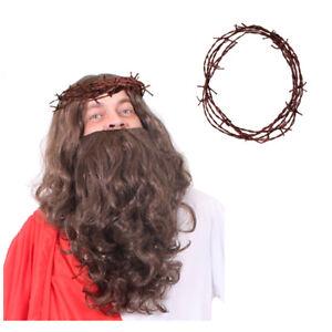 ADULTS JESUS CHRIST SET BEARD WIG THORN CROWN RELIGIOUS CHRISTMAS FANCY DRESS