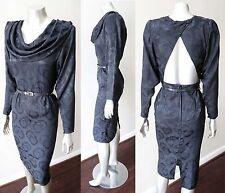 Dolman Sheath Pencil Button Halter Back Vintage 70s 80s LBD Cowl Neck Dress Xs