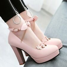 Ladies Block Heels Mary Jane Lolita Pumps Bow Knot Tassel Buckle Strappy Shoes