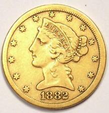 1882-CC Liberty Gold Half Eagle $5 Coin - Nice VF - Rare Carson City Coin!