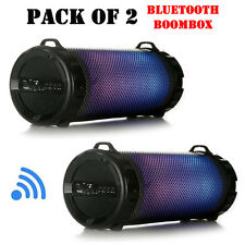 Pack of (2) SereneLife SLBSP12 Portable BT BoomBox Stereo System W/ Flashing DJ