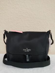 NWT Kate Spade Carley Nylon Messenger Bag Crossbody in Black