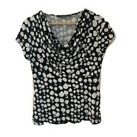 BASQUE Women's Black White Spotty Cowl Neck Cap Sleeve Shirt Blouse Top Size 10
