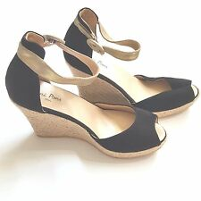 Toni Pons Black Suede Wedge Sandals Espadrille Shoes Gold Ankle Strap 40 9 9.5