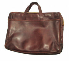 Vintage Mens Leather Briefcase Satchel Brown Leather Bag Zippered W. Handles