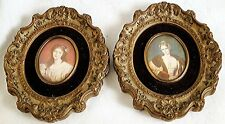 Pair of USA small paintings Painted over paper Original frame Portrait Miniature
