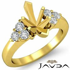 Marquise Round Cut Diamond 3 Stone Mount Engagement Ring 18k Yellow Gold 0.3Ct