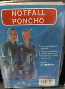 Ein Notfall Regenponcho , Transparent, dünn mit Kapuze