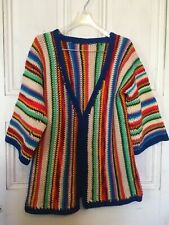 Vintage Handmade Crochet Boho Hippie Vivid Bright Multicolor Stripe Sweater