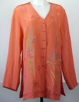 Silk Assets by Diane Von Furstenberg Coral Beaded Floral Embroidery Blouse Top S
