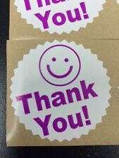 "25 BIG THANK YOU LABEL SMILEY 2"" STICKER Starburst Purple Color Thank You NEW"