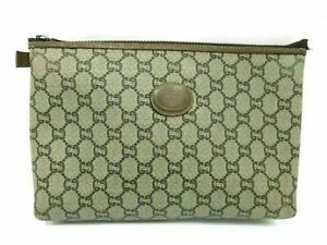 Authentic GUCCI Old Gucci Clutch Bag PVC Leather Pouch Brown 87795