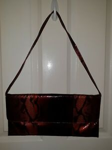 Beautiful Handbag - Gorgeous Burgundy Snake Skin Patterned Hand Bag Clutch