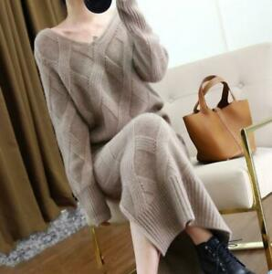 Winter Womens V Collar Cashmere Twist Knitted Sweater Slit Skirt Thick Suit 2Pcs
