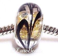 *BLACK & GOLD SPARKLE*_Murano Glass Bead for Silver European Charm Bracelet_B102