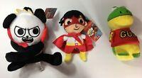 Complete Set of 3 NEW Ryan's World Combo Panda, Ryan, Gus  Plush- 12 inches tall