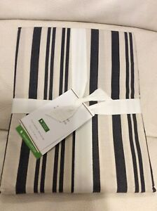Pottery Barn Antique Stripe Shower Curtain NWT 72x72 Cotton Gray & Ivory