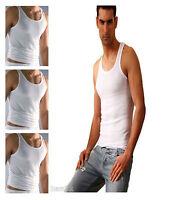 3x Men's Vest 100% Cotton White Summer Plain Thin Cool Gym Sizes S M L & XL