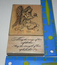 Stampin Up Elegant Angel Set of 2 Script Verse May the Wings of Love Enfold Thee