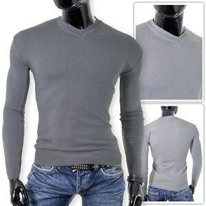 Mens plain grey V-Neck Jumper Pullover Cotton Fitness Slim Fit Stretchy Classic