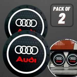 Set of 2 Pcs AUDI LOGO BLACK CAR COASTERS RUBBER SILICONE CUP HOLDER INSERT USA