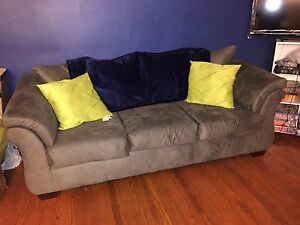 Gray Suede Sofa & Loveseat
