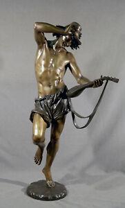 Antique 19th Century Bronze Man with mandolin Carrier-Belleuse