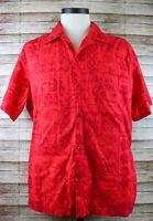 XL Vintage Hilo Hattie Red Tapa Palm Hibiscus Pineapple Pattern Hawaiian Shirt
