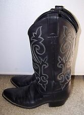 Justin  Leather Black Mens Western 7D Cowboy Boots