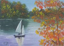 """Original ACEO landscape oil painting  YACHT 2.5x3.5"""""""